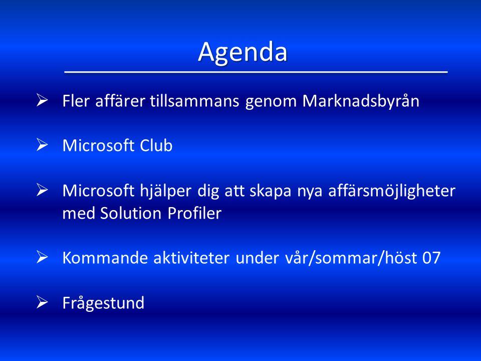 Agenda  Fler affärer tillsammans genom Marknadsbyrån  Microsoft Club  Microsoft hjälper dig att skapa nya affärsmöjligheter med Solution Profiler  Kommande aktiviteter under vår/sommar/höst 07  Frågestund