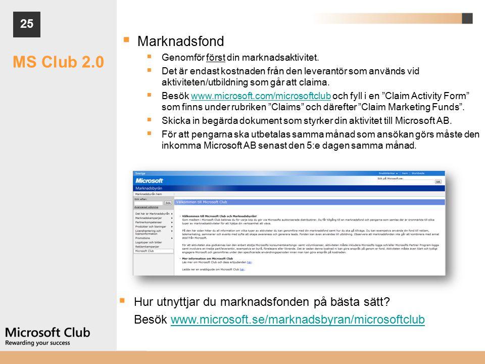 25  Marknadsfond  Genomför först din marknadsaktivitet.