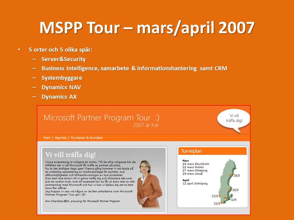 MSPP Tour – mars/april 2007 5 orter och 5 olika spår: 5 orter och 5 olika spår: – Server&Security – Business Intelligence, samarbete & informationshantering samt CRM – Systembyggare – Dynamics NAV – Dynamics AX