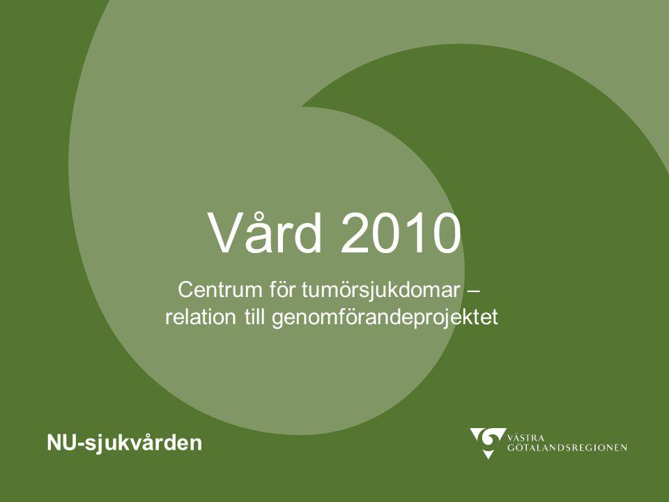 Vård 2010 NU-sjukvården Centrum för tumörsjukdomar – relation till genomförandeprojektet