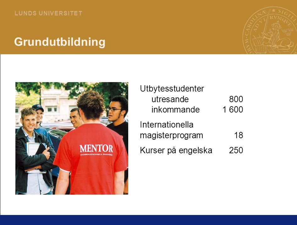 12 L U N D S U N I V E R S I T E T Grundutbildning Utbytesstudenter utresande800 inkommande1 600 Internationella magisterprogram18 Kurser på engelska250
