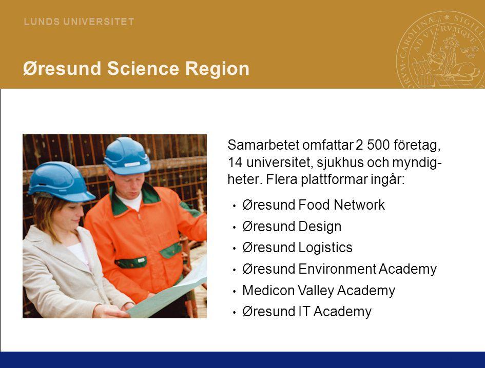 14 L U N D S U N I V E R S I T E T Øresund Science Region Samarbetet omfattar 2 500 företag, 14 universitet, sjukhus och myndig- heter.