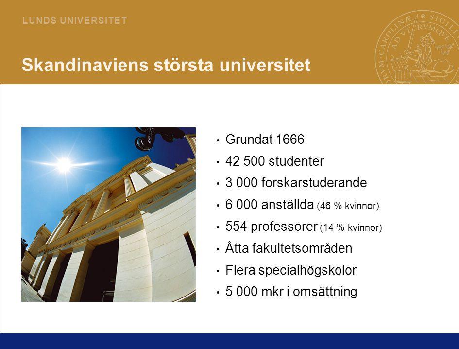 2 L U N D S U N I V E R S I T E T Skandinaviens största universitet Grundat 1666 42 500 studenter 3 000 forskarstuderande 6 000 anställda (46 % kvinnor) 554 professorer (14 % kvinnor) Åtta fakultetsområden Flera specialhögskolor 5 000 mkr i omsättning