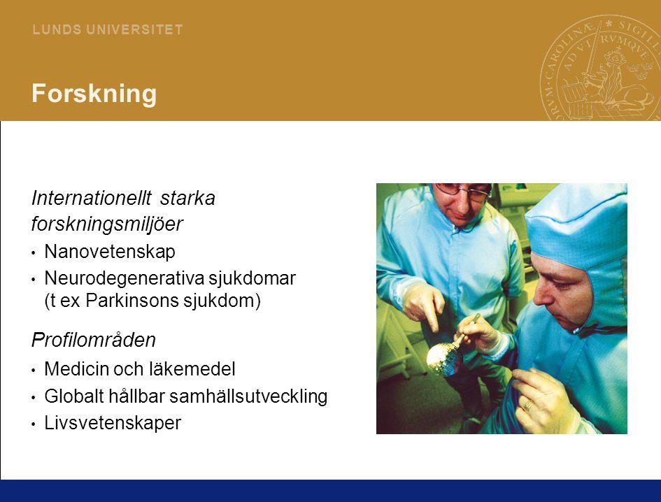 6 L U N D S U N I V E R S I T E T Forskning Internationellt starka forskningsmiljöer Nanovetenskap Neurodegenerativa sjukdomar (t ex Parkinsons sjukdom) Profilområden Medicin och läkemedel Globalt hållbar samhällsutveckling Livsvetenskaper