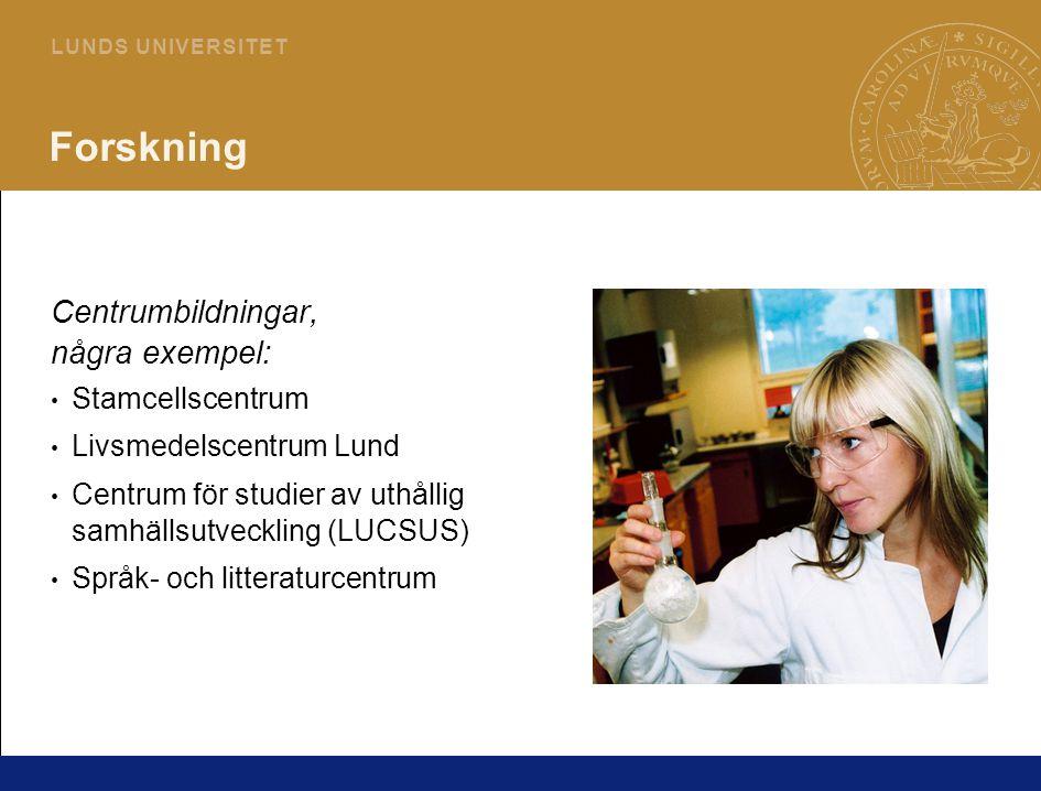 7 L U N D S U N I V E R S I T E T Forskning Centrumbildningar, några exempel: Stamcellscentrum Livsmedelscentrum Lund Centrum för studier av uthållig samhällsutveckling (LUCSUS) Språk- och litteraturcentrum