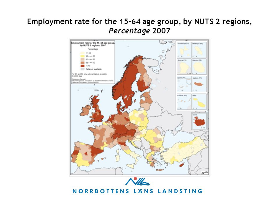 Employment rate for the 15–64 age group, by NUTS 2 regions, Percentage 2007