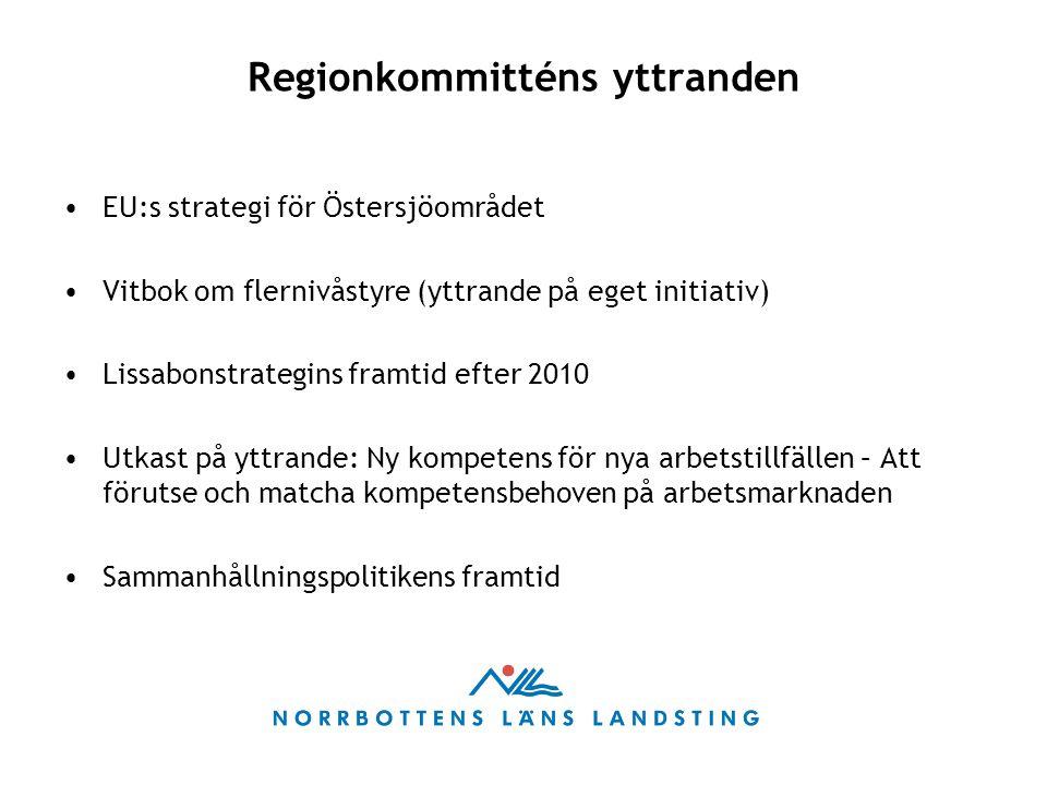 Regionkommitténs yttranden EU:s strategi för Östersjöområdet Vitbok om flernivåstyre (yttrande på eget initiativ) Lissabonstrategins framtid efter 2010 Utkast på yttrande: Ny kompetens för nya arbetstillfällen – Att förutse och matcha kompetensbehoven på arbetsmarknaden Sammanhållningspolitikens framtid