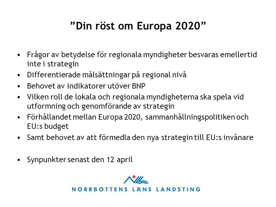 """""""Din röst om Europa 2020"""" Frågor av betydelse för regionala myndigheter besvaras emellertid inte i strategin Differentierade målsättningar på regional"""