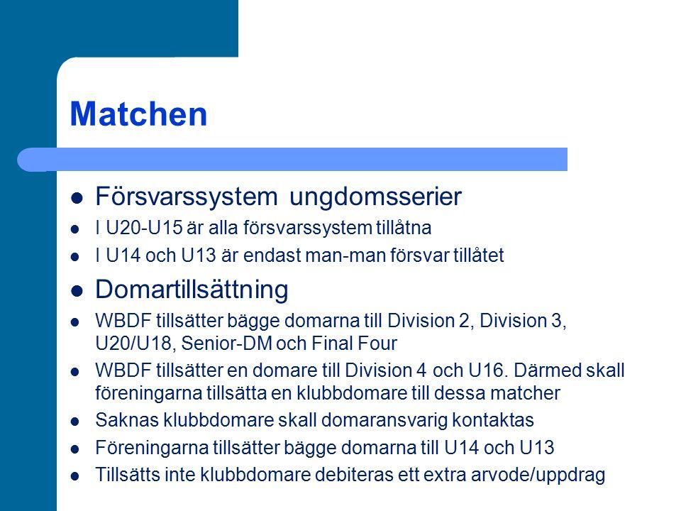 Matchen Försvarssystem ungdomsserier I U20-U15 är alla försvarssystem tillåtna I U14 och U13 är endast man-man försvar tillåtet Domartillsättning WBDF tillsätter bägge domarna till Division 2, Division 3, U20/U18, Senior-DM och Final Four WBDF tillsätter en domare till Division 4 och U16.