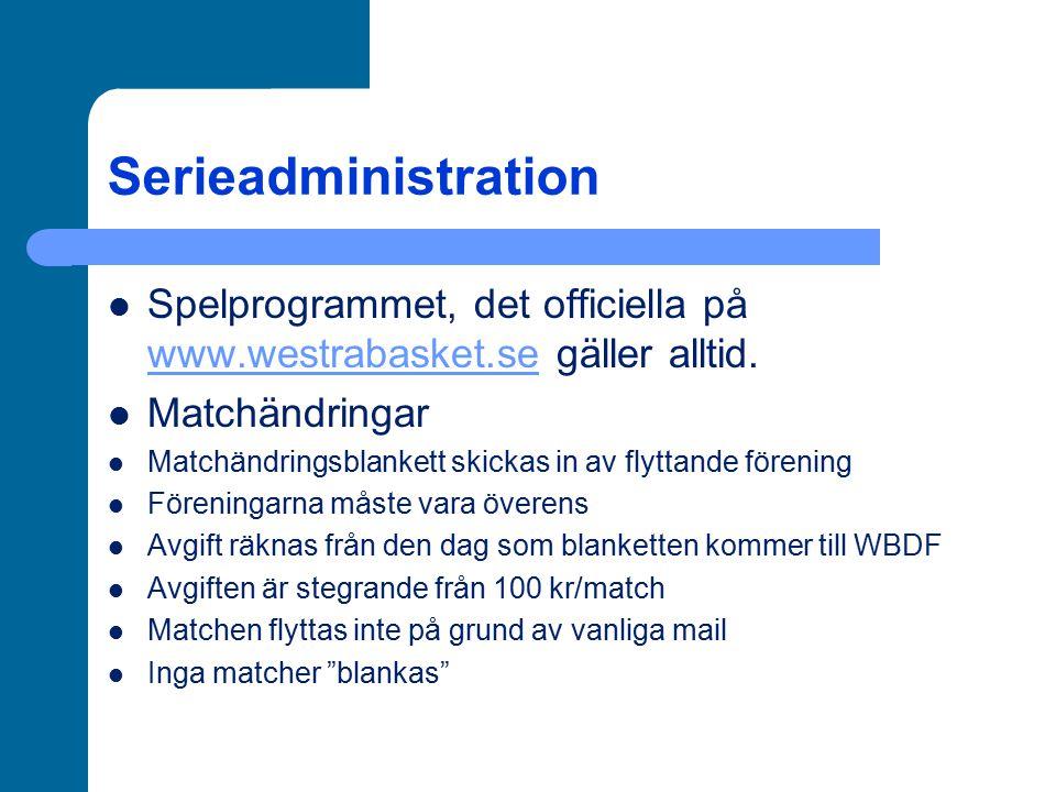 Serieadministration Licenser Alla lag måste ha en laglicens, administreras av föreningen via IdrottOnline-hemsidan När laget är registrerat, meddela WBDF som godkänner licensieringen (gäller även vid licensiering av enskilda spelare) Obegränsat antal ledare och spelare kan registreras Farmklubbsavtal och dubbellicenser Mellan huvudklubb och farmklubb Fyra spelare födda 1990 och senare Nya farmklubbsavtal måste tecknas, de gamla gäller inte
