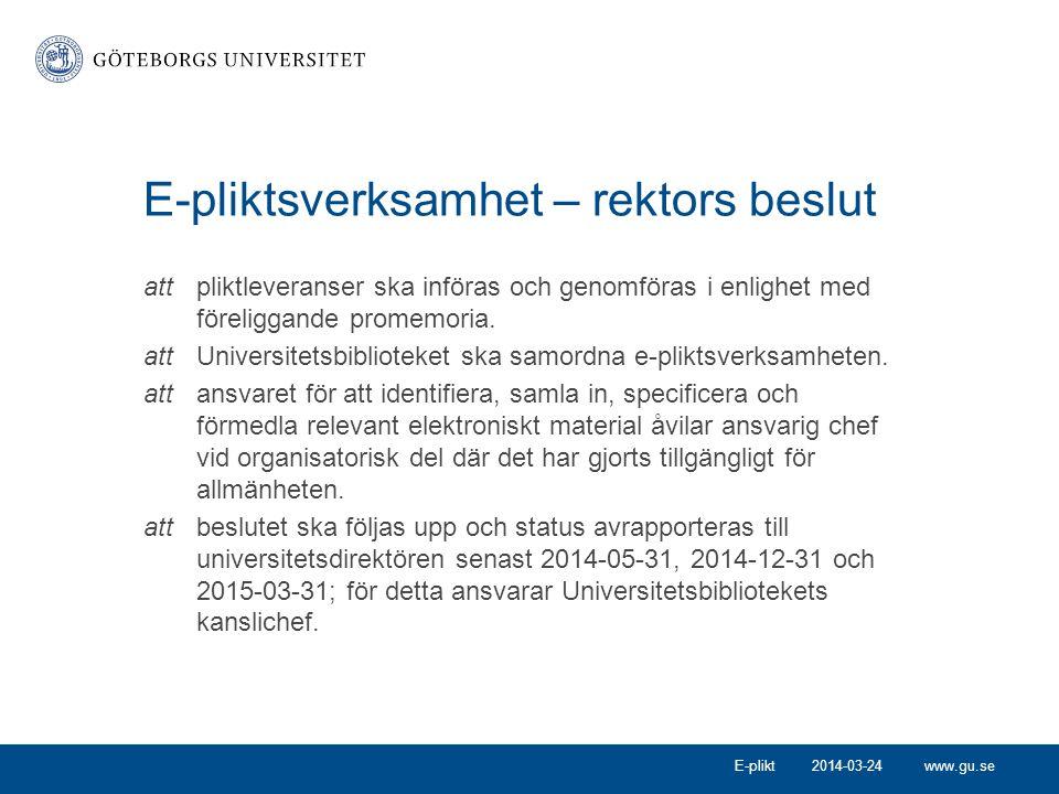 www.gu.se Information om e-plikt Kungliga bibliotekets informations- folder för myndigheter Information på medarbetarportalen: http://medarbetarportalen.gu.se/e-plikt http://medarbetarportalen.gu.se/e-plikt 2014-03-24E-plikt