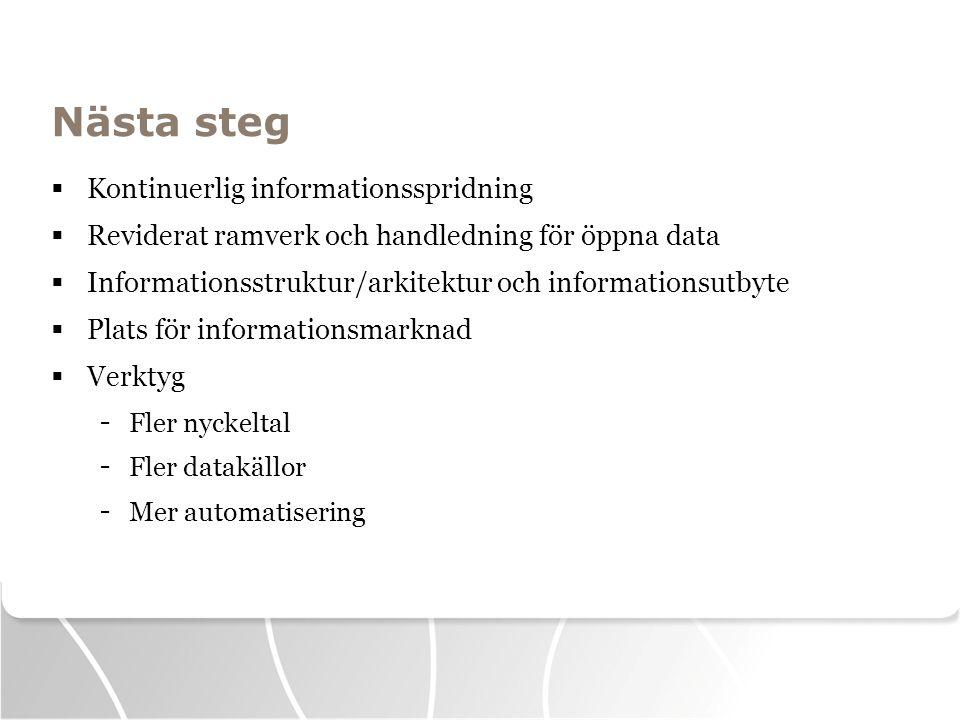 Nästa steg  Kontinuerlig informationsspridning  Reviderat ramverk och handledning för öppna data  Informationsstruktur/arkitektur och informationsu