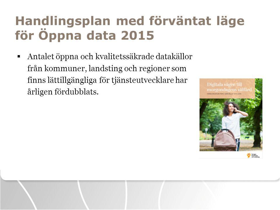 Handlingsplan med förväntat läge för Öppna data 2015  Antalet öppna och kvalitetssäkrade datakällor från kommuner, landsting och regioner som finns l