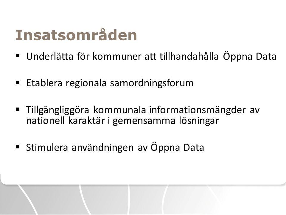 Insatsområden  Underlätta för kommuner att tillhandahålla Öppna Data  Etablera regionala samordningsforum  Tillgängliggöra kommunala informationsmä