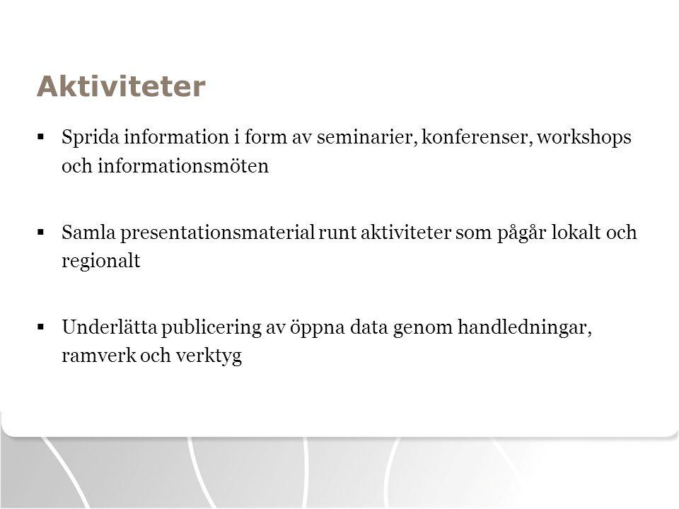 Aktiviteter  Sprida information i form av seminarier, konferenser, workshops och informationsmöten  Samla presentationsmaterial runt aktiviteter som