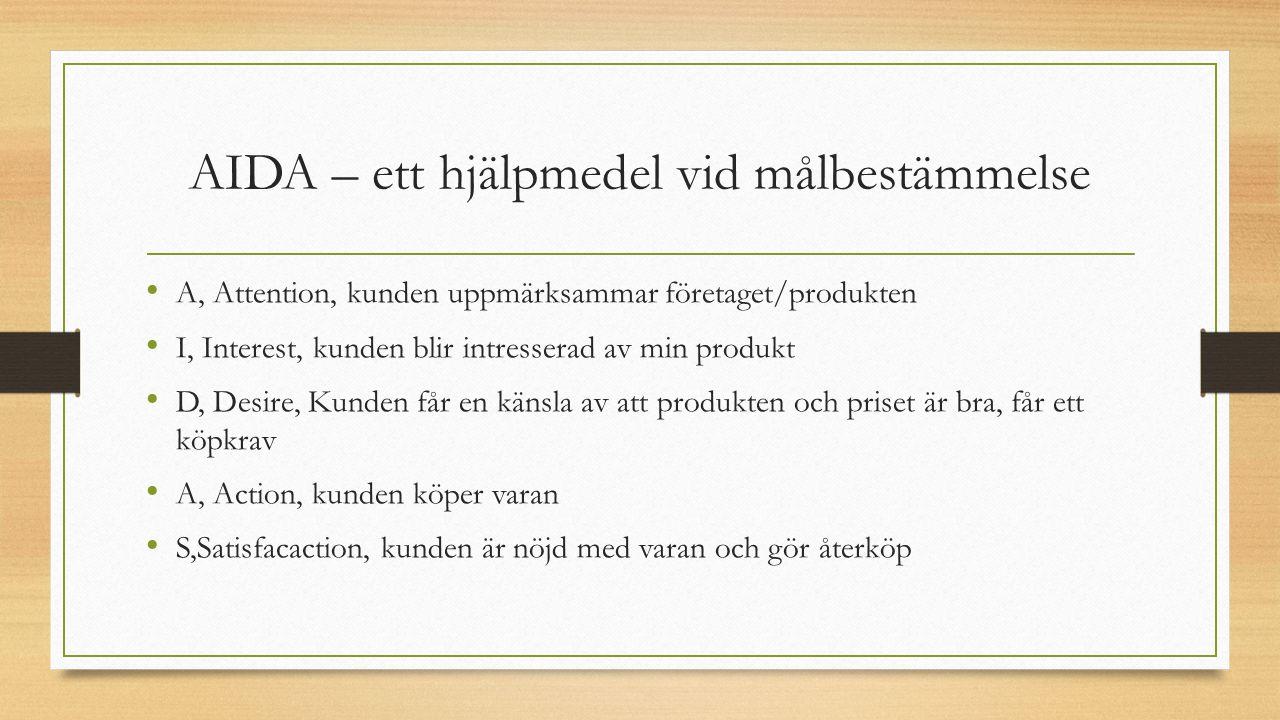AIDA – ett hjälpmedel vid målbestämmelse A, Attention, kunden uppmärksammar företaget/produkten I, Interest, kunden blir intresserad av min produkt D, Desire, Kunden får en känsla av att produkten och priset är bra, får ett köpkrav A, Action, kunden köper varan S,Satisfacaction, kunden är nöjd med varan och gör återköp
