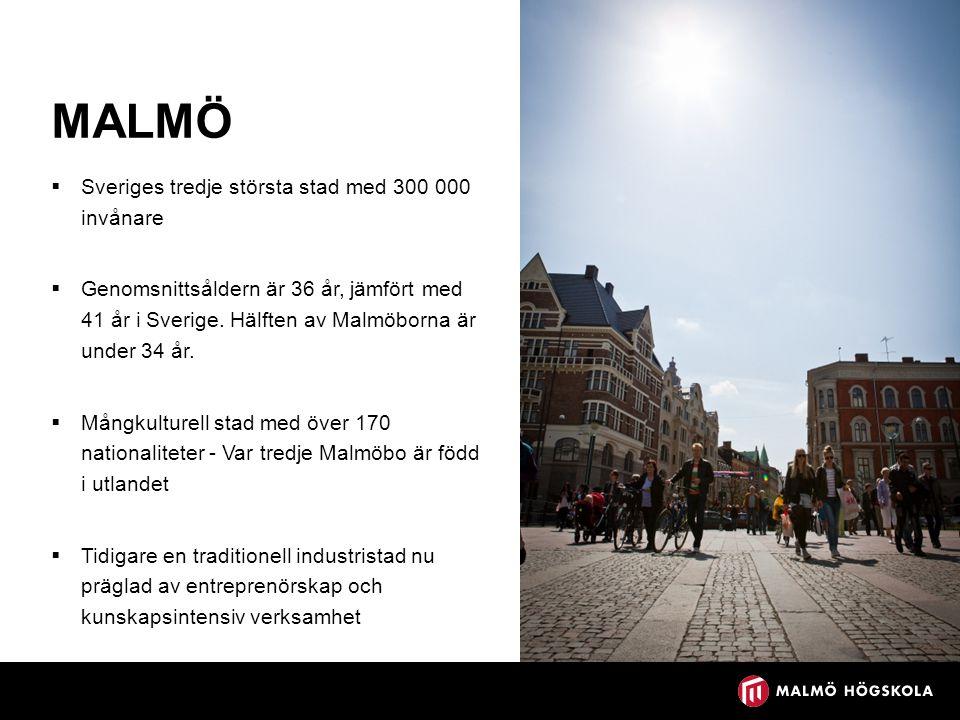 MALMÖ  Sveriges tredje största stad med 300 000 invånare  Genomsnittsåldern är 36 år, jämfört med 41 år i Sverige. Hälften av Malmöborna är under 34