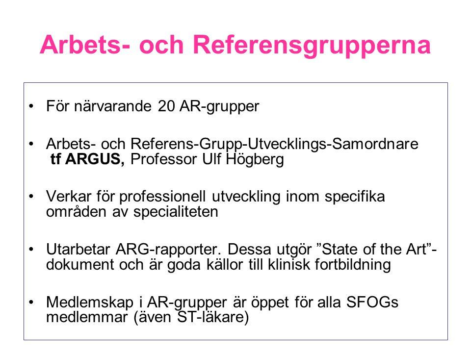 Arbets- och Referensgrupperna För närvarande 20 AR-grupper Arbets- och Referens-Grupp-Utvecklings-Samordnare tf ARGUS, Professor Ulf Högberg Verkar fö