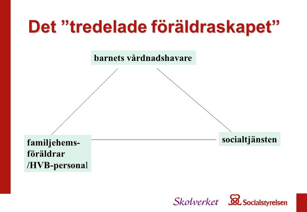 Det tredelade föräldraskapet barnets vårdnadshavare familjehems- föräldrar /HVB-personal socialtjänsten