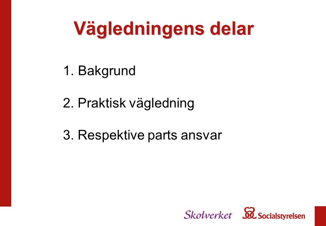 1. Bakgrund 2. Praktisk vägledning 3. Respektive parts ansvar Vägledningens delar