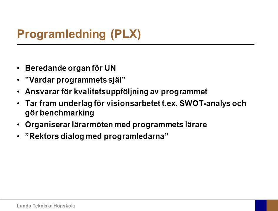 Lunds Tekniska Högskola Programledning (PLX) Beredande organ för UN Vårdar programmets själ Ansvarar för kvalitetsuppföljning av programmet Tar fram underlag för visionsarbetet t.ex.