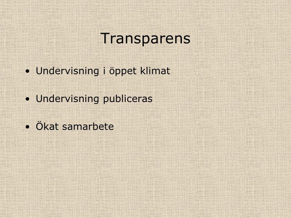 Transparens Undervisning i öppet klimat Undervisning publiceras Ökat samarbete