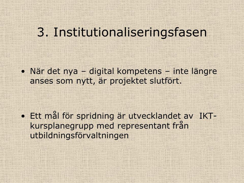 3. Institutionaliseringsfasen När det nya – digital kompetens – inte längre anses som nytt, är projektet slutfört. Ett mål för spridning är utveckland
