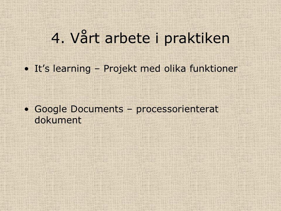 4. Vårt arbete i praktiken It's learning – Projekt med olika funktioner Google Documents – processorienterat dokument