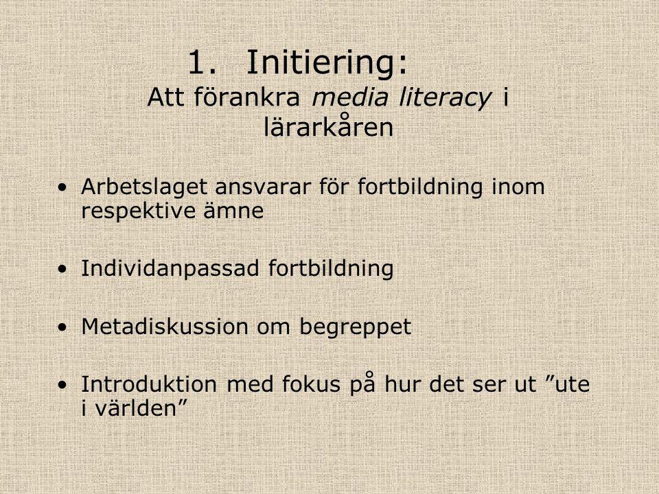 1.Initiering: Att förankra media literacy i lärarkåren Arbetslaget ansvarar för fortbildning inom respektive ämne Individanpassad fortbildning Metadiskussion om begreppet Introduktion med fokus på hur det ser ut ute i världen