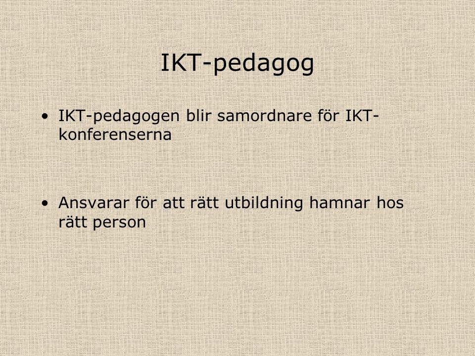 IKT-pedagog IKT-pedagogen blir samordnare för IKT- konferenserna Ansvarar för att rätt utbildning hamnar hos rätt person