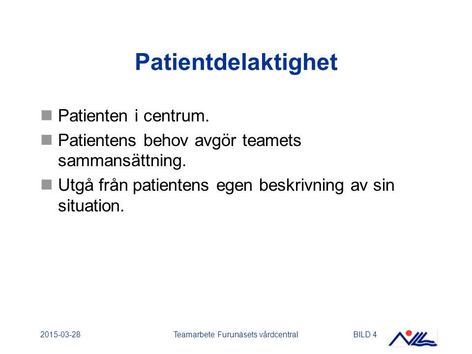 2015-03-28Teamarbete Furunäsets vårdcentralBILD 15 Medicinsk rehabilitering Läkare – medicinsk utredning, medicinering, intyg.
