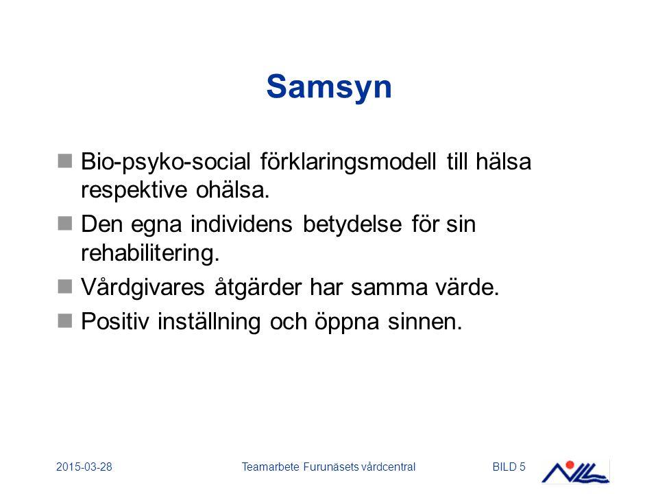 2015-03-28Teamarbete Furunäsets vårdcentralBILD 16 Utvärderingsinstrument Frågeformulär om smärtproblem (Linton).