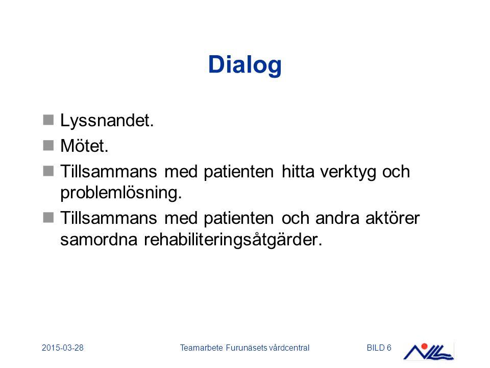 2015-03-28Teamarbete Furunäsets vårdcentralBILD 6 Dialog Lyssnandet. Mötet. Tillsammans med patienten hitta verktyg och problemlösning. Tillsammans me
