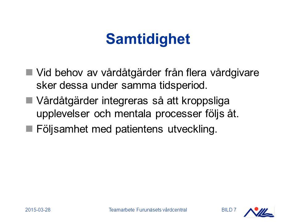 2015-03-28Teamarbete Furunäsets vårdcentralBILD 7 Samtidighet Vid behov av vårdåtgärder från flera vårdgivare sker dessa under samma tidsperiod.