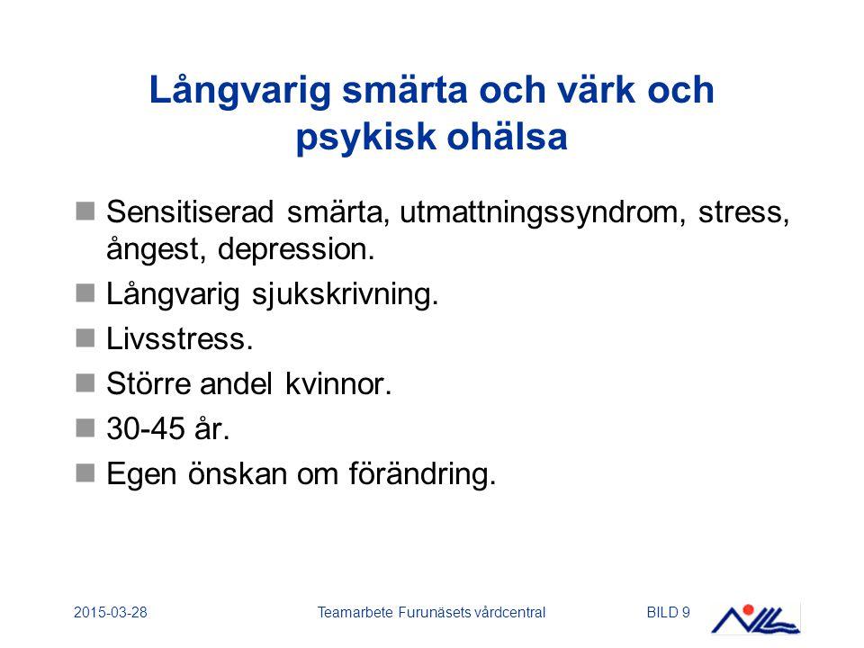 2015-03-28Teamarbete Furunäsets vårdcentralBILD 10 Smärta och värk och/eller psykisk ohälsa Smärta och värk från rörelseapparaten (trauma, överbelastning) med långsam förbättring.