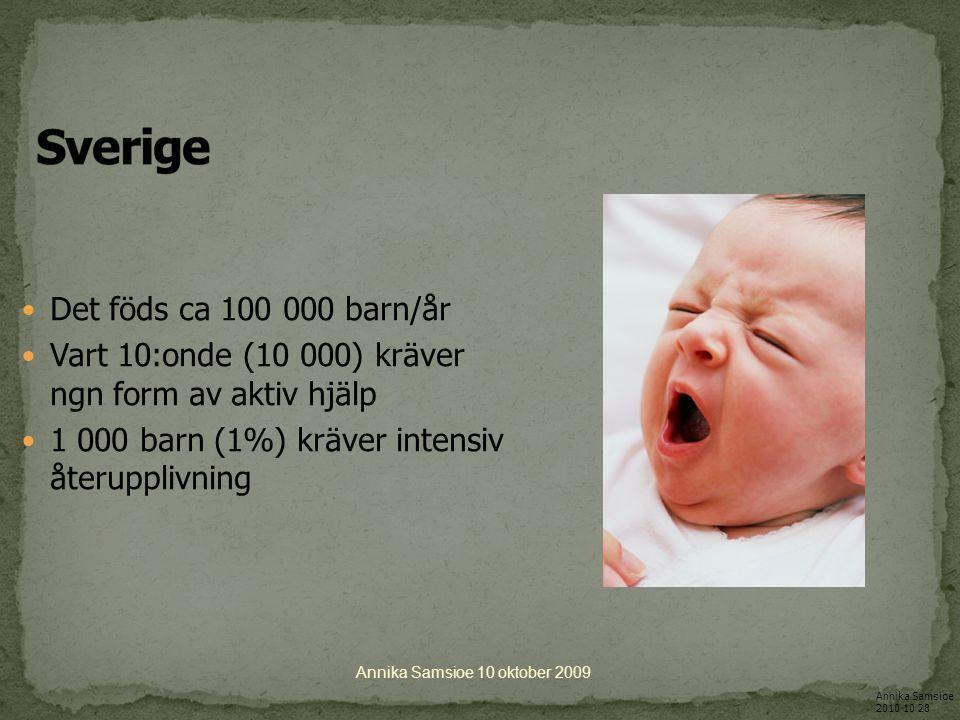 Att få RÄTT behandling snabbt är avgörande för att det nyfödda asfyktiska barnet ska överleva och inte drabbas av ett livslångt handikapp Annika Samsioe 10 oktober 2009 Annika Samsioe 2010 10 28