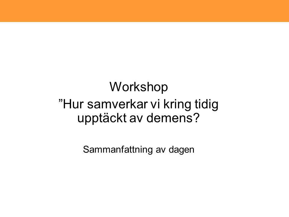 Workshop Hur samverkar vi kring tidig upptäckt av demens? Sammanfattning av dagen