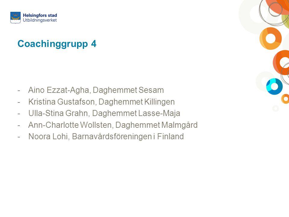Coachinggrupp 4 -Aino Ezzat-Agha, Daghemmet Sesam -Kristina Gustafson, Daghemmet Killingen -Ulla-Stina Grahn, Daghemmet Lasse-Maja -Ann-Charlotte Woll