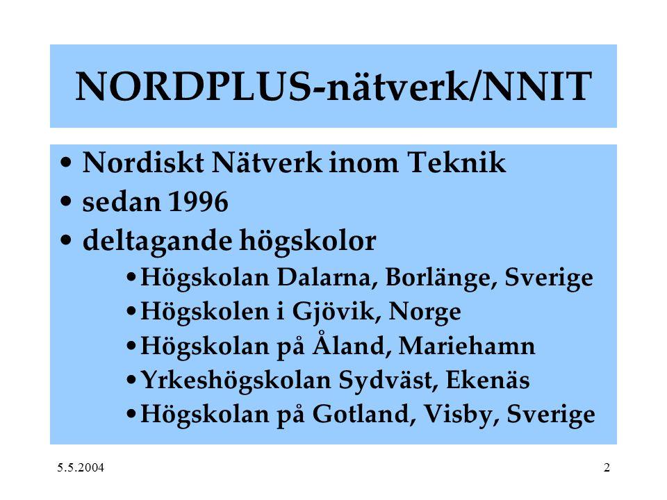 5.5.20042 NORDPLUS-nätverk/NNIT Nordiskt Nätverk inom Teknik sedan 1996 deltagande högskolor Högskolan Dalarna, Borlänge, Sverige Högskolen i Gjövik,