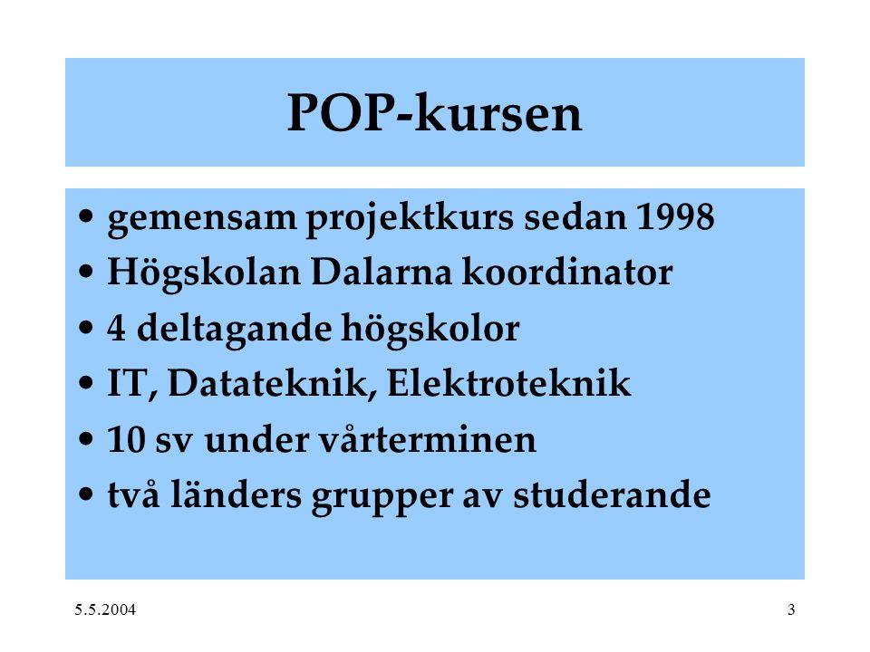 5.5.20043 POP-kursen gemensam projektkurs sedan 1998 Högskolan Dalarna koordinator 4 deltagande högskolor IT, Datateknik, Elektroteknik 10 sv under vå