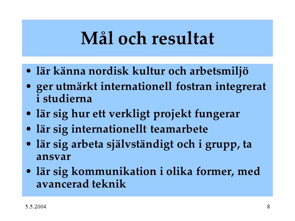 5.5.20048 Mål och resultat lär känna nordisk kultur och arbetsmiljö ger utmärkt internationell fostran integrerat i studierna lär sig hur ett verkligt