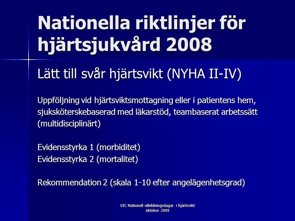 VIC Nationell utbildningsdagar i hjärtsvikt oktober 2009 Nationella riktlinjer för hjärtsjukvård 2008 Lätt till svår hjärtsvikt (NYHA II-IV) Uppföljning vid hjärtsviktsmottagning eller i patientens hem, sjuksköterskebaserad med läkarstöd, teambaserat arbetssätt (multidisciplinärt) Evidensstyrka 1 (morbiditet) Evidensstyrka 2 (mortalitet) Rekommendation 2 (skala 1-10 efter angelägenhetsgrad)