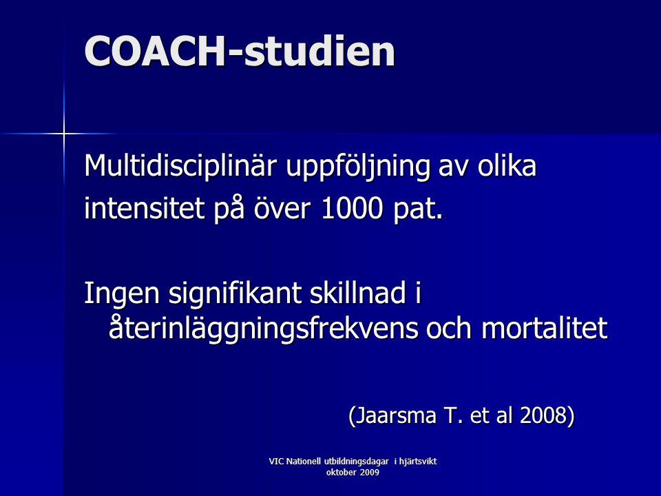 VIC Nationell utbildningsdagar i hjärtsvikt oktober 2009 COACH-studien Multidisciplinär uppföljning av olika intensitet på över 1000 pat.