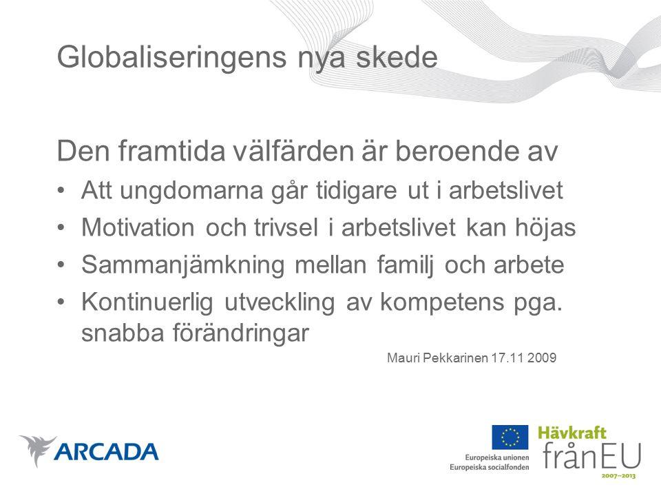 Globaliseringens nya skede Den framtida välfärden är beroende av Att ungdomarna går tidigare ut i arbetslivet Motivation och trivsel i arbetslivet kan höjas Sammanjämkning mellan familj och arbete Kontinuerlig utveckling av kompetens pga.