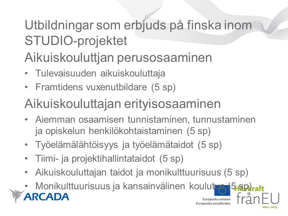 Utbildningar som erbjuds på finska inom STUDIO-projektet Aikuiskouluttjan perusosaaminen Tulevaisuuden aikuiskouluttaja Framtidens vuxenutbildare (5 sp) Aikuiskouluttajan erityisosaaminen Aiemman osaamisen tunnistaminen, tunnustaminen ja opiskelun henkilökohtaistaminen (5 sp) Työelämälähtöisyys ja työelämätaidot (5 sp) Tiimi- ja projektihallintataidot (5 sp) Aikuiskouluttajan taidot ja monikulttuurisuus (5 sp) Monikulttuurisuus ja kansainvälinen koulutus (5 sp)
