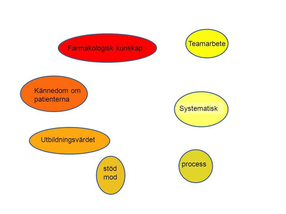 Farmakologisk kunskap Teamarbete Systematisk Kännedom om patienterna stöd mod process Utbildningsvärdet