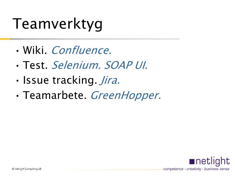 Teamverktyg Wiki. Confluence. Test. Selenium. SOAP UI.