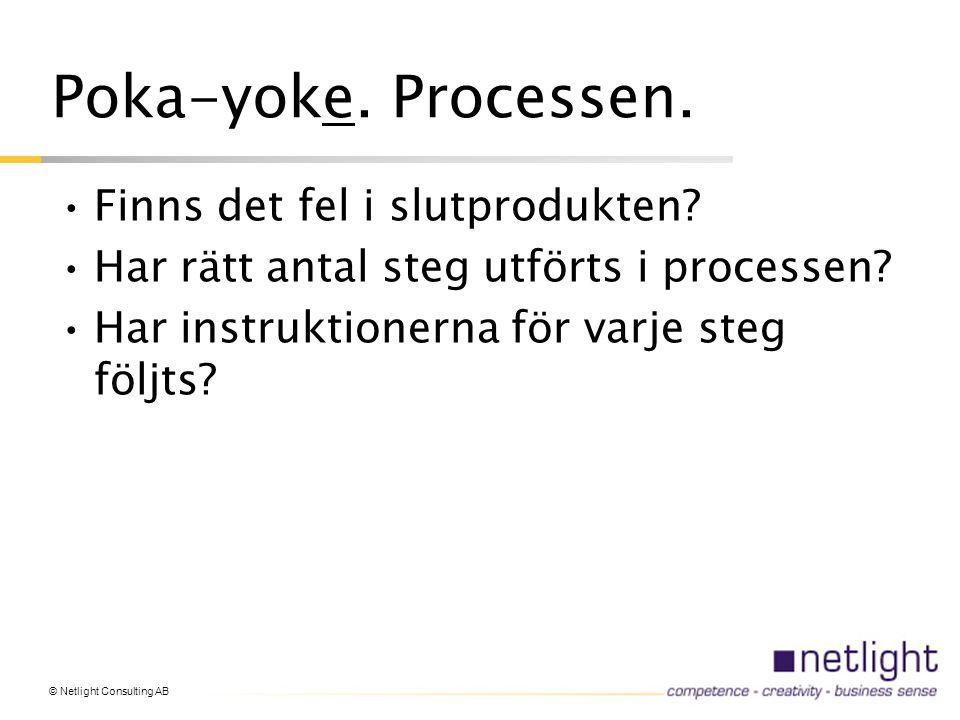 Poka-yoke. Processen. Finns det fel i slutprodukten.