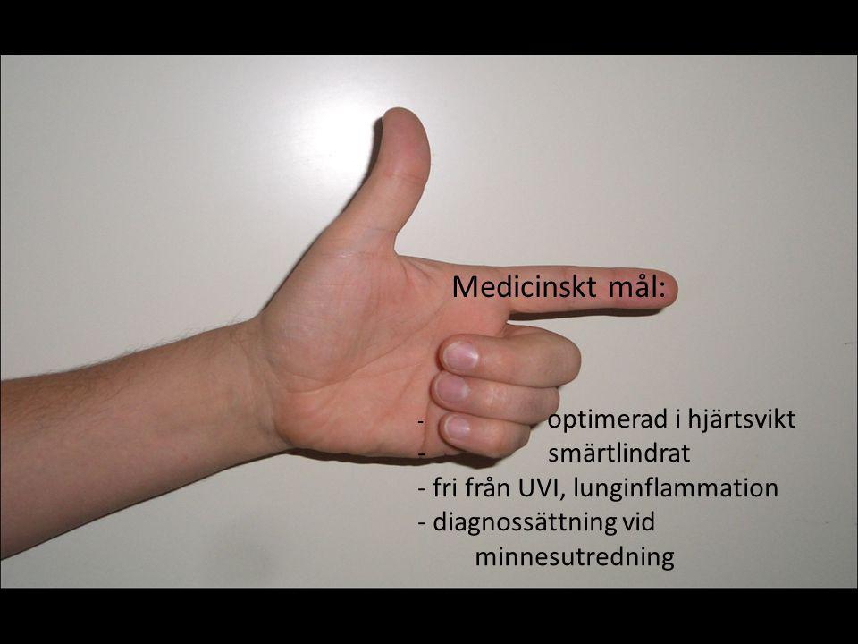 Medicinskt mål: - optimerad i hjärtsvikt - smärtlindrat - fri från UVI, lunginflammation - diagnossättning vid minnesutredning