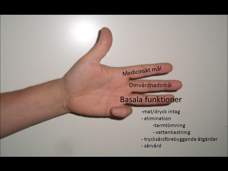 Medicinskt mål Omvårdnadsmål Basala funktioner Aktivitetsförmaga- boendemiljö - sjukgymnast - arbetsterapeut